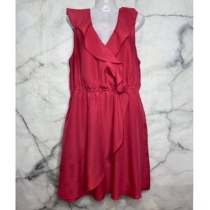 BCBG Dress Large Pink Ruffle Pockets